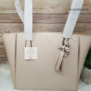 Kate Spade Kali Warm Beige Large Tote Leather New